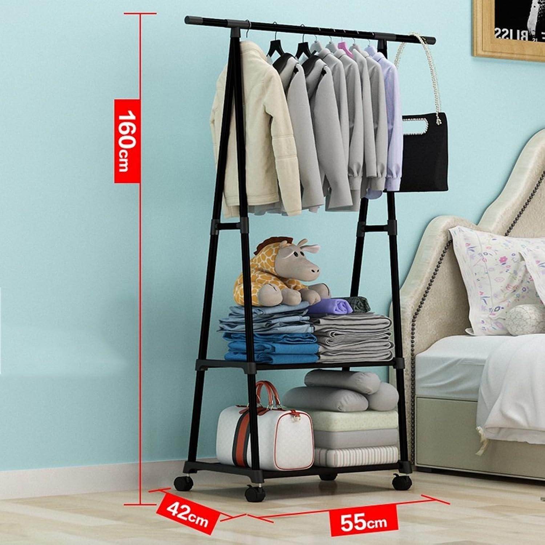 GJM Shop Horizontal Bar Coat Rack 16mm Steel Pipe Floorstanding Hangers Indoor Simple Storage Hanger 55  42  160cm (color   4)