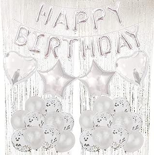 ZERODECO Silver Balloons Decorations, Bday Metallic Foil Happy Birthday Balloon, Fringe Shiny Curtains, Star Balloons, Heart Balloons, Confetti Balloons and Latex Balloons for Birthday Party Ceremony