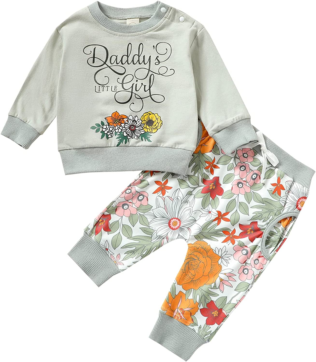 Toddler Baby Girl Sweatsuit Rainbow Long Sleeve Sweatshirt Floral Pants with Pockets Tracksuit 2PCS Clothes Set
