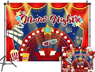 Hollywood Theme Backdrop Premiere Marquee Pop Corn Red Curtain Photobooth Props Backgrounds Vinyl 7x5ft Party Banner Movie Night Decor