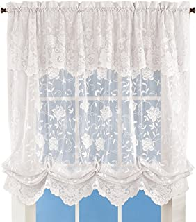 Collections Floral Sheer Lace Tie-up Balloon Shade Window Curtain with Scalloped Edges and Rod Pocket Top for Easy Hanging, White