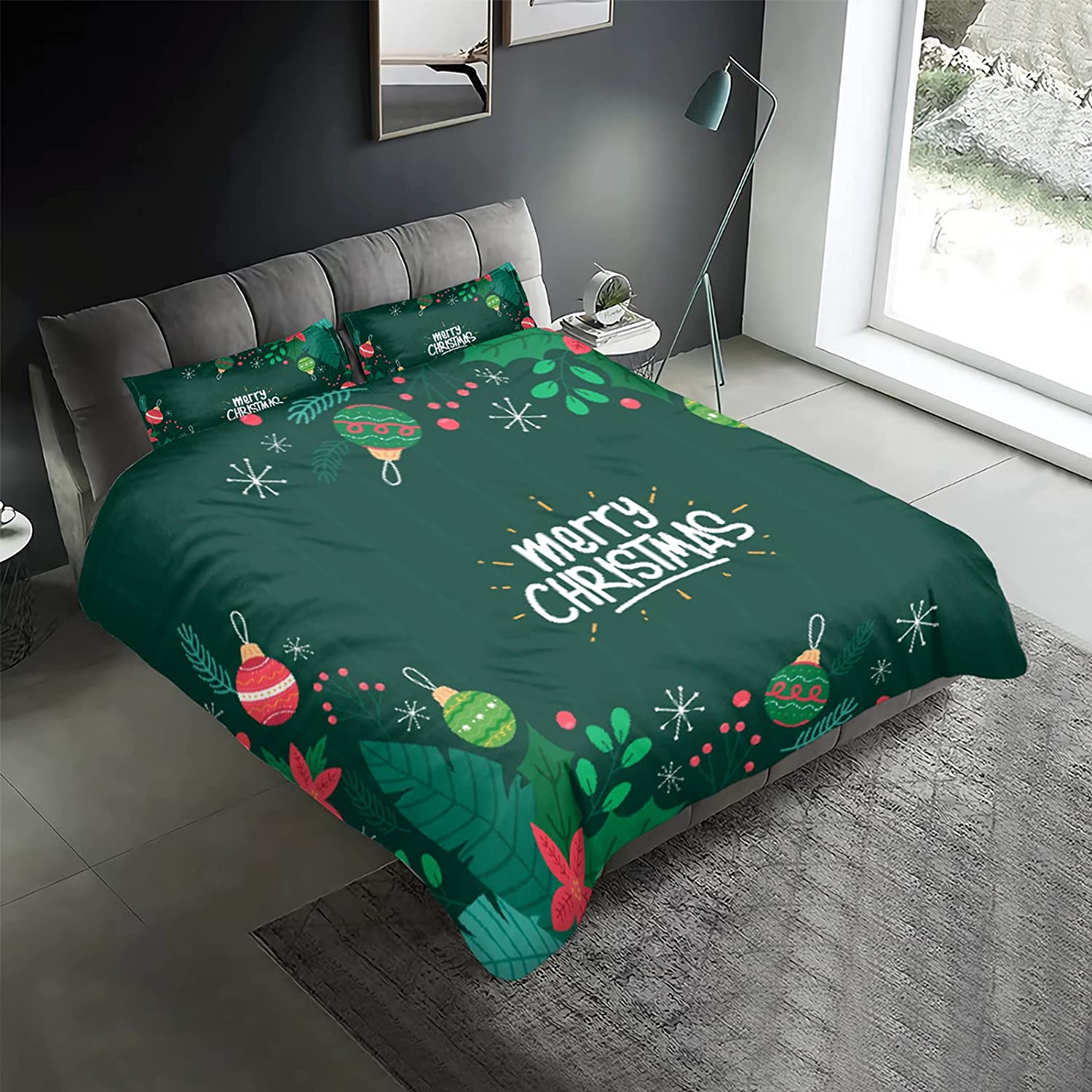 Christmas Green Cute Queen Dealing full price reduction Duvet 3 B Cover Piece New arrival Set