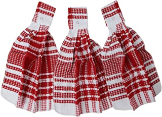 Home-X - Red Snap Top Towels (Set of 3), Kitchen Towels and Dishcloths That Easily Snap onto Drawers and Handles, Perfect for Any Kitchen