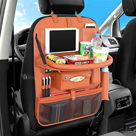 Car Organizer Luxury PU Leather Car Seat Back Storage Bag for Kids Road Trip Lenmumu Car Backseat Organizer with Tablet Holder and Folding Dining Table Auto Seat Back Protector Kick Mat Black