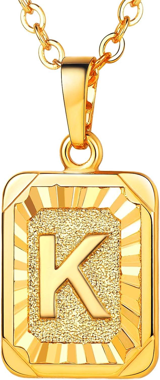 U7 Monogram Necklace A-Z 26 Letters P Platinum Gold 100% quality warranty! 18K National uniform free shipping Pendants