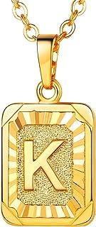 U7 Monogram Necklace A-Z 26 Letters Pendants 18K Gold/Platinum Plated Initial Necklaces for Women Girls, Graduation Gift