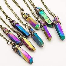 Raw Rainbow Titanium Quartz Point Antique Bronze Chain Pendant Necklace 18 Inches