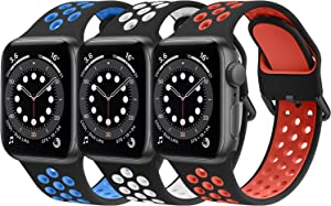 [3 Pack] Bands Compatible with Apple Watch Bands 44mm 42mm for Women Men, Breathable Replacement Sport Bands for Apple Watch SE iWatch Series 6 5 4 3 2 1