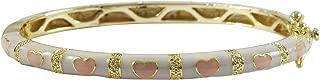 Gold Finish White Enamel Pink Hearts Girls Bangle Bracelet