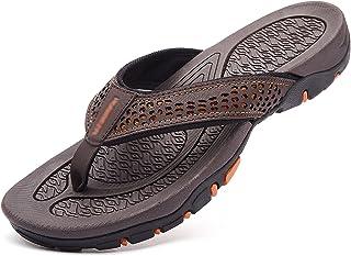 G&F Mannen Rubber Flip Flops Zomer Sandaal Strand Slipper Met Boog Ondersteuning Zacht voor Indoor Outdoor (Kleur: Bruin, ...