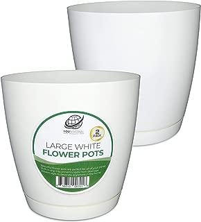 Large White Plastic Flower Pot (2 Pack)