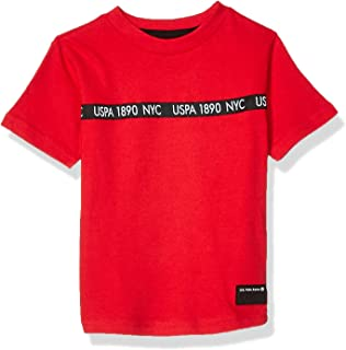 Boys' Short Sleeve Crew Neck T-Shirt with Logo Taping
