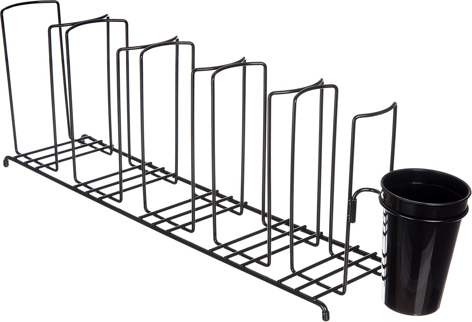 San Jamar C8003WFS Steel Cup and Lid Wire Organizer with Caddy and 3 Stacks, Black