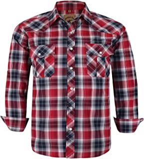 Coevals Club Men's Snap Button Down Plaid Long Sleeve Work Casual Shirt