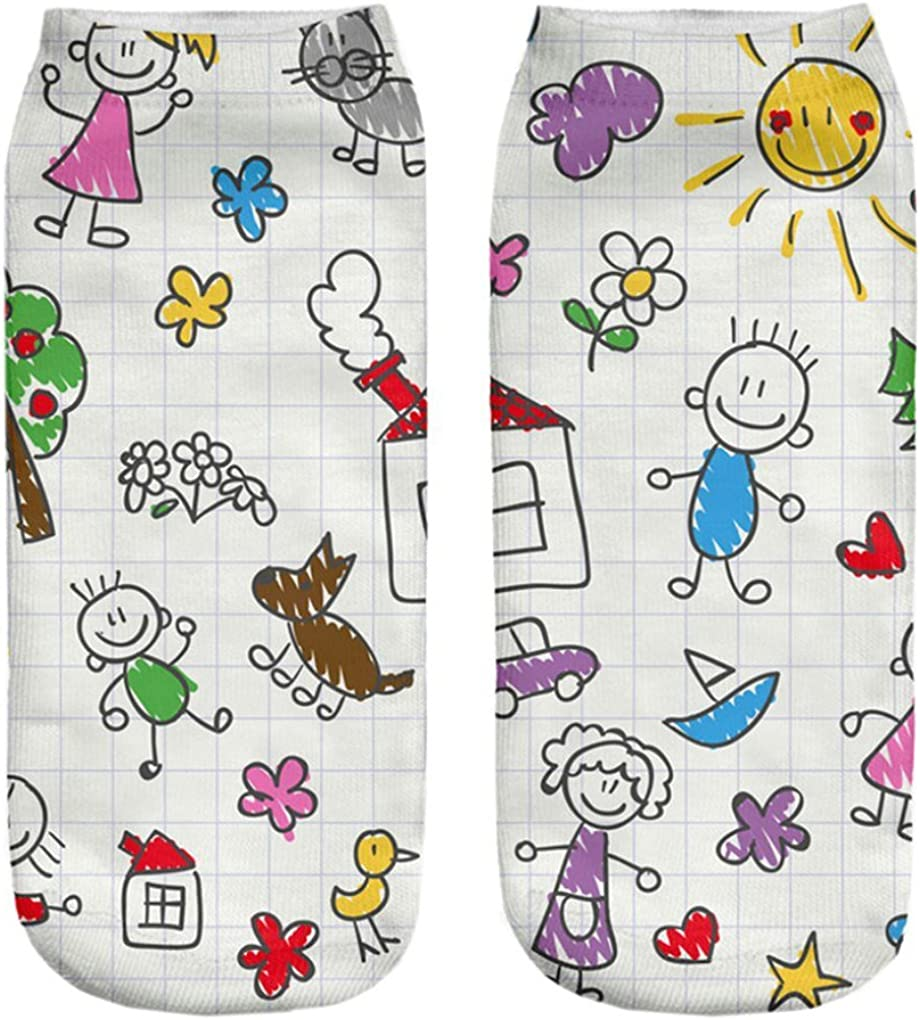 Doxi Family icons vector set Low-cut Ankle Socks Print Cotton Kawaii Style