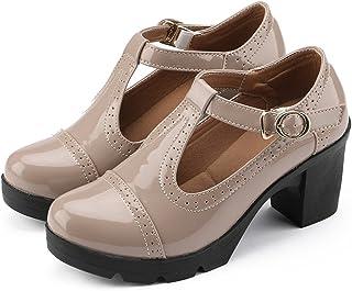 e170a407d9e DADAWEN Women s Classic T-Strap Platform Mid-Heel Square Toe Oxfords Dress  Shoes