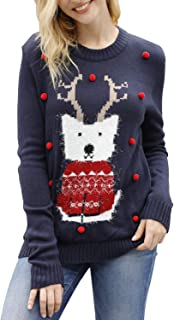 Women's Ugly Christmas Sweater Animal Pattern Xmas Pullover Knitted Jumper
