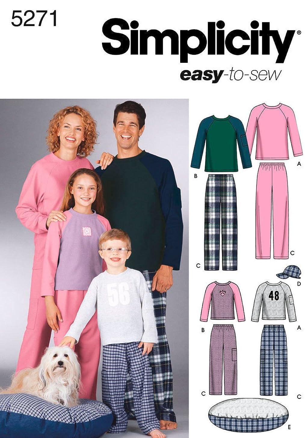 Simplicity Sewing Pattern 5271 Miss/Men/Child Sleepwear, A (XS-L/XS-XL)