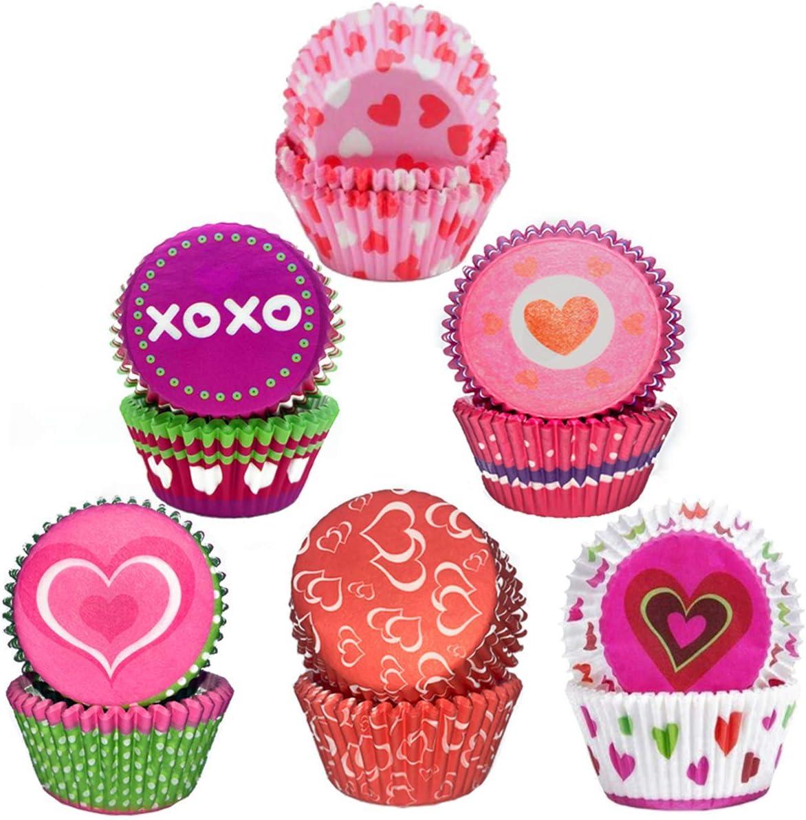 Fundas Papel para Cupcakes con patr/ón Amor Envoltorio de Muffins 6 Estilos para Postres Hornear Pastel Tarta Cumplea/ños Bodas Fiesta Rojo Fadaar Muffin Papel Magdalenas