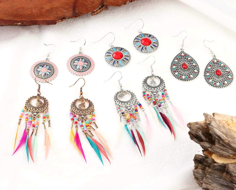 bronze dangling spun glass High Fantasy Women/'s jewelry Special gift For her LAVANDES \u00a0 Bohemian earrings long