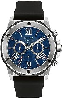 [ブローバ] Bulova 腕時計 Marine Star Men's Quartz Watch with Blue Dial Chronograph Display and Black Silicone Strap クォーツ 98B258 【並行輸入品】
