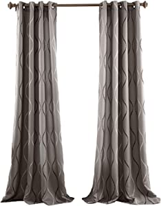 Lush Decor Swirl Room Darkening Window Curtain Panel (Set of 2), Gray