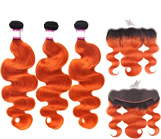 Body Wave 13X4 Lace Frontal With 2/3 Bundles 1B/Orange Color 10 30 Inch Remy Human Hair Bundles With Frontal,24 24 24 & Closure20,1B Orange Color,Three Part