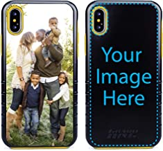 Custom iPhone Xs Max Cases by Guard Dog - Personalized - Make Your Own Rugged Hybrid Phone Case. Includes Guard Glass Screen Protector. (Black, Yellow)