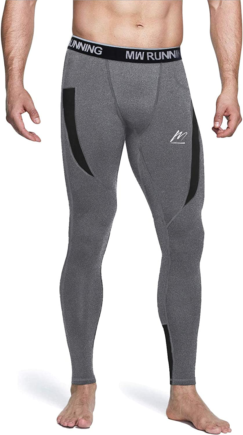 MeetHoo Mens Compression Pants, Quick Dry Running Leggings Thermal Base Layer Tights for Gym Athletic