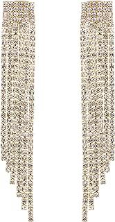 Boho Tassel Earrings Long Bohemian Fringe Chain Crystal Chandelier Dangle Drop Earrings for Women Girls