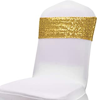 iwedn Sequin Chair Sashes for Wedding/Party, Suitable for Most Banquet Chairs, Gold/Silver/Rose Sequin Chair Sashes (Gold, 20)