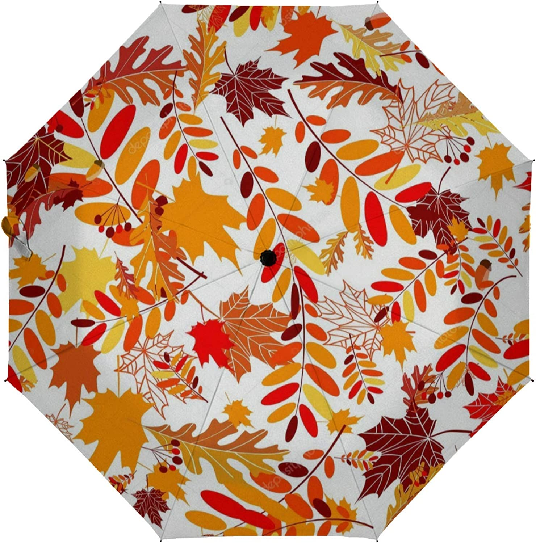 Automatic Purchase Folding Umbrella Autumn Thre leaves Under blast sales