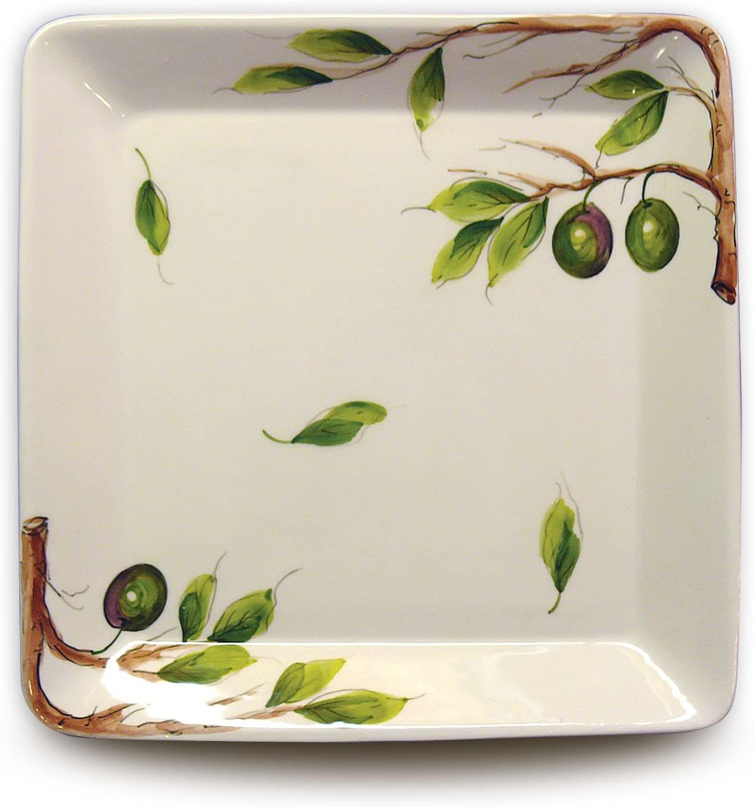 Hand Louisville-Jefferson County Mall Painted Square Platter From with Excellence Italy Olives