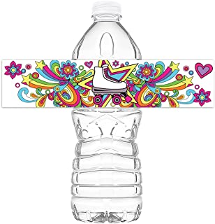 POP parties Roller Skating Bottle Wraps - 20 Roller Skating Water Bottle Labels - Roller Skating Decorations - Made in The USA