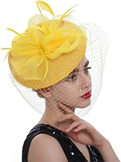 Sinamay Fascinators Kentucky Derby Headband Bridal Wedding Hats Tea Party Headwear for Women and Girls