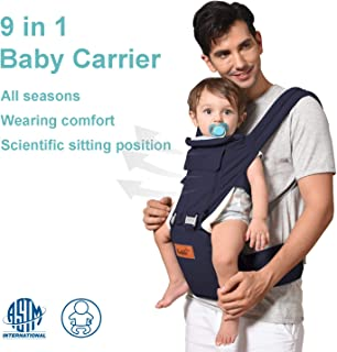 Bable Baby Carrier with Hip Seat 9-in-1, 360 Ergonomic Baby Carrier, Toddler Tush Stool for All Seasons, Soft Baby Sling No Infant Insert Needed - Adapt to Newborn, Infant Hiking Backpack Carrier