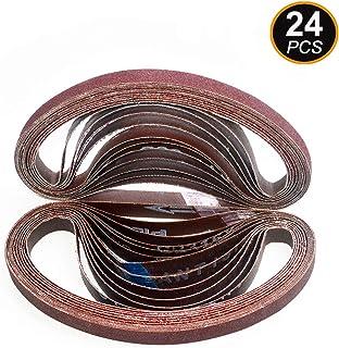 Aiyard 1/2 x 18-Inch Aluminum Oxide Sanding Belts, 40/60/80/120/180/240 Assorted Grits..