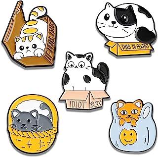 Cute Cat Pins Set 5pcs Cartoon Enamel Brooches Pin for Womens Girls Cat Lover Gifts