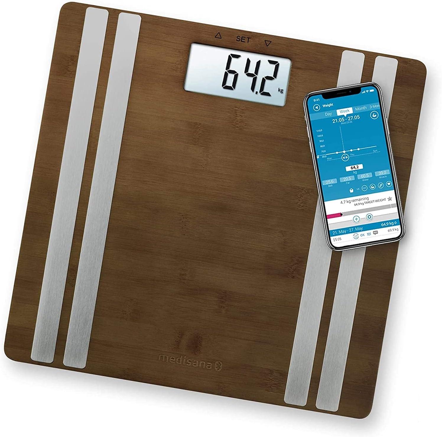 Medisana BS 552 connect báscula digital de bambú para análisis corporal hasta 180 kg, báscula personal para medir la grasa corporal, el agua corporal, báscula de grasa corporal con aplicación, Brown