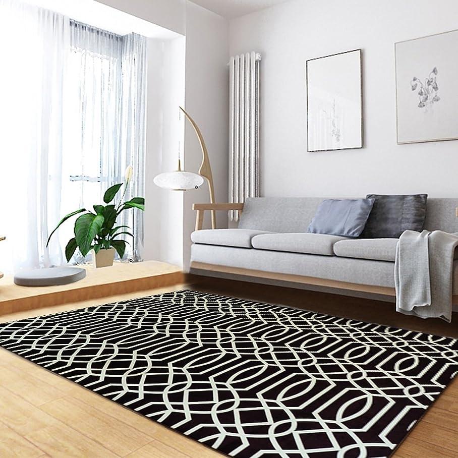 スツール実際簡略化するモダンスタイルの幾何学模様ラグリビングルームソファベッドルームの長方形家庭用洗濯可能 ( 色 : ブラック , サイズ さいず : 140*200cm )