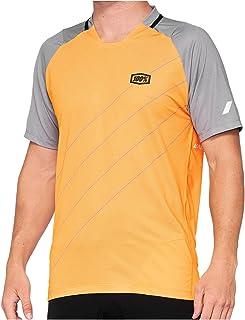 100% MTB-jersey korte mouwen Celium oranje/grijs