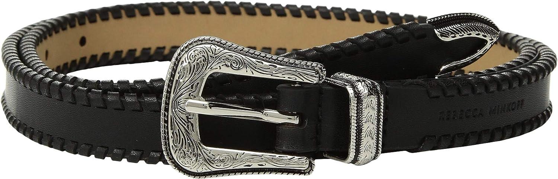 Rebecca Minkoff Womens 18 mm Cowboy Belt with Whipstitch Black Polished Nickel LG