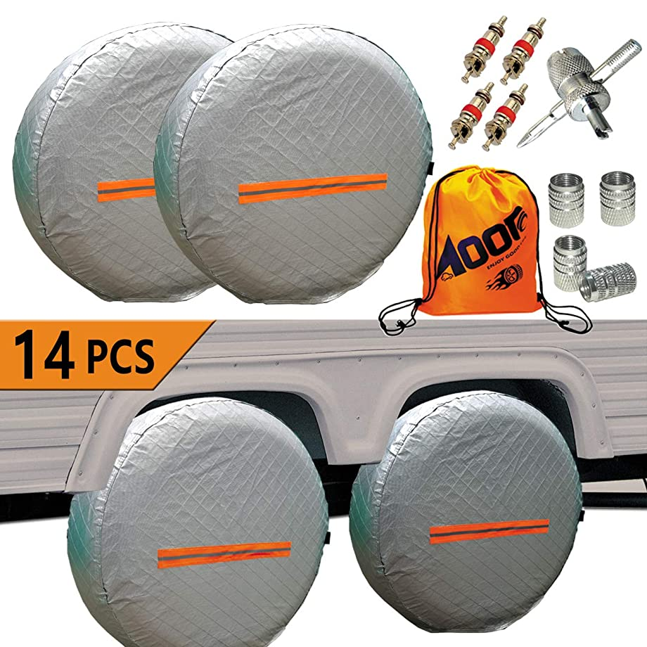 Tire Covers for RV Wheel -Trailers Tire Covers Set of 4 and Tire Tools 14 Sets for Motorhome Wheel Covers RVS,Boat,Waterproof Reflective Safety Tire Protectors Fits 26