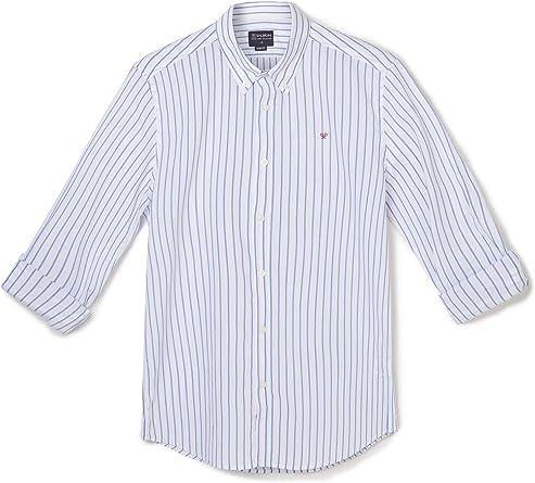 SILBON - Camisa Sport Raya Ancha White para Hombre: Amazon.es ...