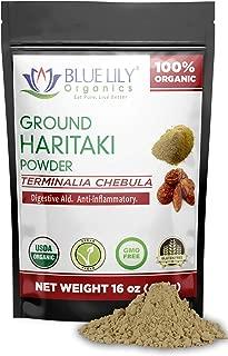 Blue Lily Organics Haritaki Powder Certified Organic 1 Lb Stand-Up Pouch, Bulk, Detox, Rejuvenate, Balance of Vata. (Terminalia Chebula)