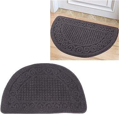 Cabilock Half Round Door Mat Outdoor Indoor Entrance Mat Rug Floor Mat Non Slip Washable Door Rug 40x63cm Grey