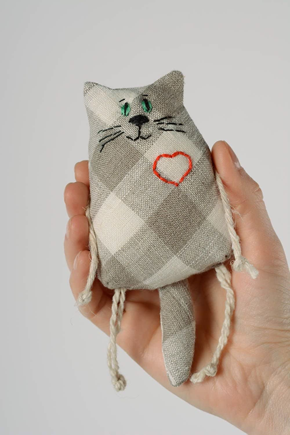 Handmade Small Soft Toy Cat Sewn Of Checkered Linen Fabric With Embroidered Heart