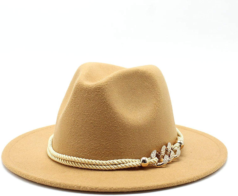 Black/White Wide Brim Simple Church Derby Top Hat Panama Solid Felt Fedoras Hat for Men Women Artificial Wool Blend Jazz Cap m56-58cm Camel