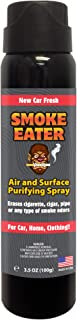 Smoke Eater - Breaks Down Smoke Odor at The Molecular Level - Eliminates Cigarette, Cigar or Pot Smoke On Clothes, in Cars, Homes, and Office - 3.5 oz Travel Spray Bottle (New CAR Fresh AEROSOL)