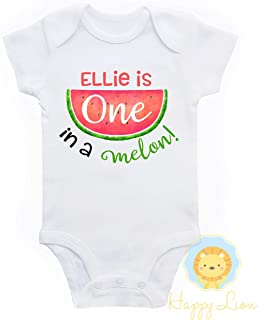 Happy Lion Clothing - Watermelon 1st Birthday bodysuit for Baby Girl, One in a Melon Outfit